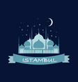 Beautiful logo pattern with muslim blue mosque in