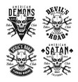 biker club emblems with horned skull vector image vector image