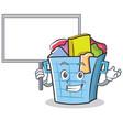 bring board laundry basket character cartoon vector image vector image