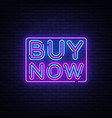 buy now neon text design template buy now vector image vector image