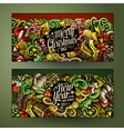 Cartoon doodles New Year holidays banners vector image vector image