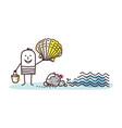 cartoon man on beach picking shells vector image