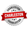 Charleston round silver badge with red ribbon vector image vector image