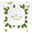christmas frame branches and gold foil vector image vector image