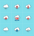 Cloud computing icons icon set in flat design vector image vector image