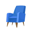 cozy blue armchair with wooden legs comfortable vector image