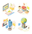 e-learning isometric design concept vector image vector image