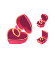 engagement rings in red boxes isometric vector image