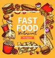 fast food restaurant poster menu template vector image vector image