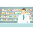 Flat style young pharmacist at pharmacy opposite vector image vector image