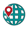 global sphere and gps mark vector image vector image