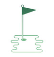 golf hole with flag vector image vector image