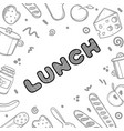 hand drawn lunch logo for cafe vector image