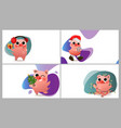 happy chinese new year of pig set vector image vector image