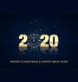 happy new year greeting card golden clock instead vector image vector image