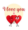 i love you - greeting card design with two hugging vector image vector image