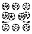 Kawaii football or soccer ball - cute character ic vector image vector image