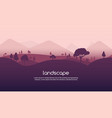 landscape sunset flat background nature sky vector image