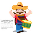 mexican mariachi in sombrero and with drum vector image vector image