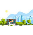 modern house with big city on background vector image vector image