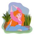 online yoga relaxing woman yoga pose cartoon vector image