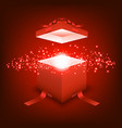 open gift box with red ray light vector image vector image