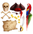 pirate realistic icons set vector image