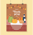 pumpkin cake wine bottle tablecloth happy vector image vector image