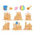 sandcastles set and children toys bucket seashell vector image vector image