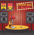 scene with open mic guitar microphone and audio vector image