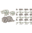 seamless background design with many elephants vector image
