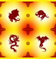 Seamless Pattern with dragons and oriental vector image