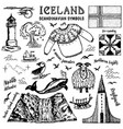 set iceland symbols in vintage style vector image vector image