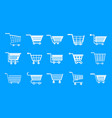 shop cart icon blue set vector image