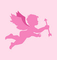 simple flying cupid silhouette graphic vector image
