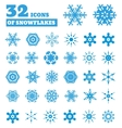 snowflakes a set 32 icons vector image