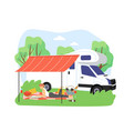 summer bbq scene young woman reading magazine vector image vector image