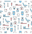 thin line art dentist seamless pattern vector image vector image