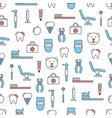 thin line art dentist seamless pattern vector image