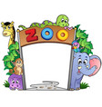 zoo entrance with various animals vector image vector image