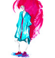 fashion girl in sketch-stylewatercolor vector image