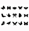 butterflies silhouette collection vector image