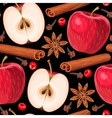 Apple and cinnamon seamless vector image vector image