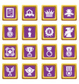 awards medals cups icons set purple square vector image vector image