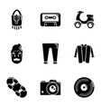 beat icons set simple style vector image vector image