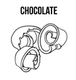 black and white chocolate shaving curl spiral vector image