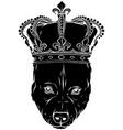 black silhouette king dog vector image
