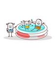 cartoon people having fun in a swimming-pool vector image