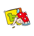 Child playing with dice sign vector image vector image