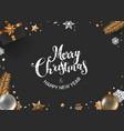 christmas composition top view box fir vector image